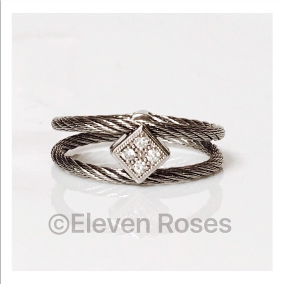 18k White Gold Steel Cable Diamond Ring